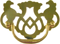 "B-0681 Chippendale Drawer Pull - 3""Ctr - Brass"