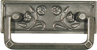 "PW-0634 Art Nouveau Drawer Pull - Roses - Pewter Finish - 2-1/2""CC"