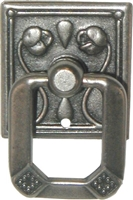 PW-1234 Art Nouveau Single Post Pull - Roses - Pewter Finish