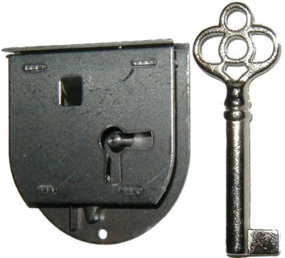 Antique Half Mortise Drawer Or Left Hand Door Lock With Key