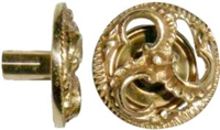 B-0335 Victorian Knob with Backplate - Brass
