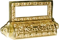 B-1374 Victorian Bin Pull with Card Holder - Brass