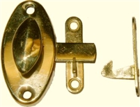 B-1586 HOOSIER Oval Cabinet Latch - Brass