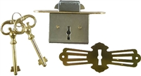 M-1802 Roll Top Desk Lock Set - Rounded Plates