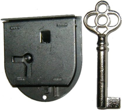 Antique Half Mortise Drawer Or Right Hand Door Lock With Key
